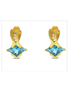Blue Topaz And Diamond Pendant And Earrings Set In Yellow Gold H-S001 (Preloved)